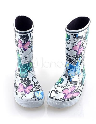 Women Fashion Combat Boots on Cartoon Rubber 20 28cm High Women S Fashion Rain Boots   Milanoo Com