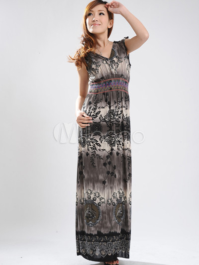 Elegant Deep Gray Floral V-Neck Cotton Polyester Womens Maxi Dress