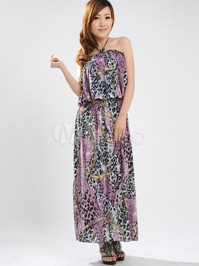 Elegant Purple Halter Floral Cotton Polyester Womens Maxi Dress