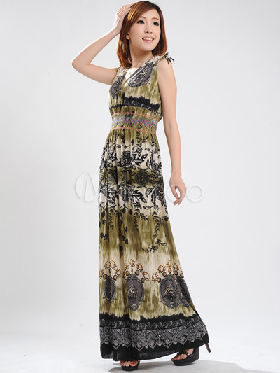 Fashionable Army Green Floral V-Neck Cotton Polyester Womens Maxi Dress