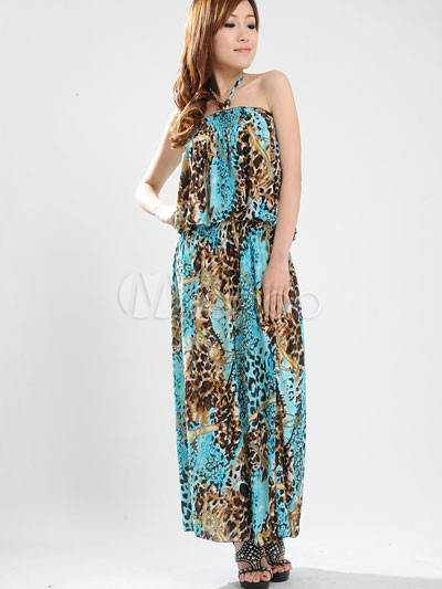 Gorgeous Blue Halter Floral Cotton Polyester Womens Maxi Dress
