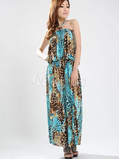 Gorgeous Blue Halter Floral Cotton Polyester Womens Maxi Dress