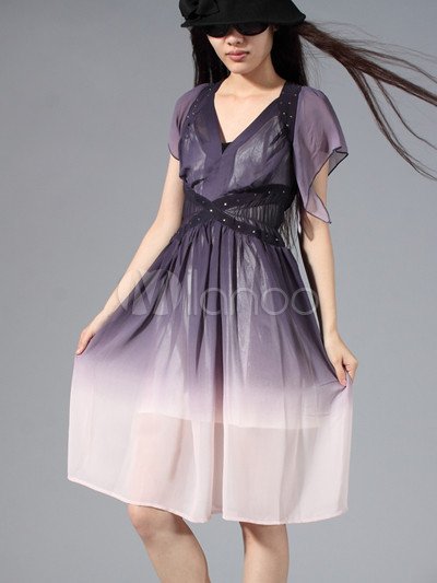 Modern Western Purple Shading V-neck Collar Silk Womens Dress ...