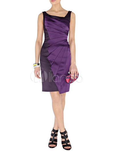Modern Western Purple Sleeveless Acetate Fiber Polyester Womens ...