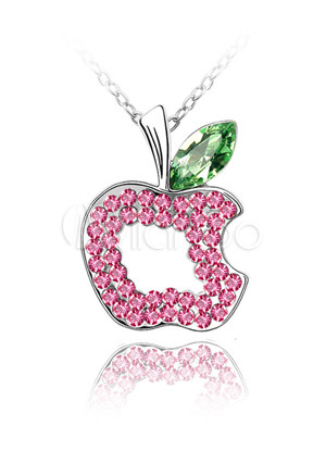 ����� ����� ����� ������� ����� Pretty-Pink-Apple-Shaped-Alloy-Swarovski-Womens-Necklace-65245-1.jpg