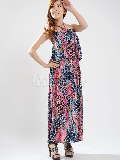 Red Halter Floral Cotton Polyester Womens Maxi Dress