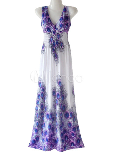 Violet Peacock Feather Printing Cotton Polyester Womens Maxi Dress ...