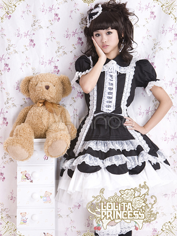 Black Lace Dress  Sleeves on Milanoo Cotton Red And White Front Tie Sweet Lolita Dress Review