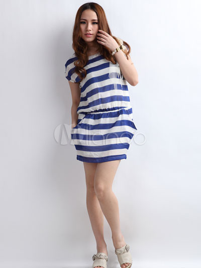 Blue And White Striped Dress - Dress Xy