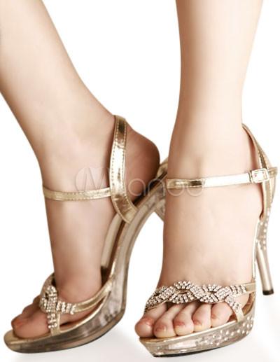 goldene damen sandaletten mit schnallen. Black Bedroom Furniture Sets. Home Design Ideas