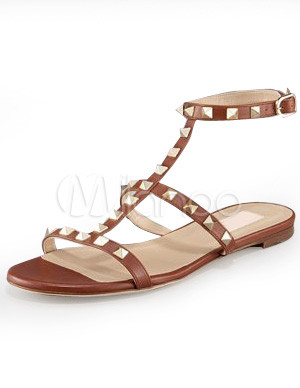Modern Brown 4/5\'\' Heel Flat Sheepskin Womens Fashion Sandals