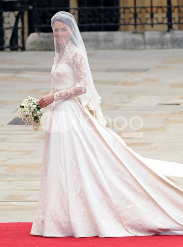 Princess Kate 2M Sweep Ivory Satin Lace V-Neck Wedding Dress