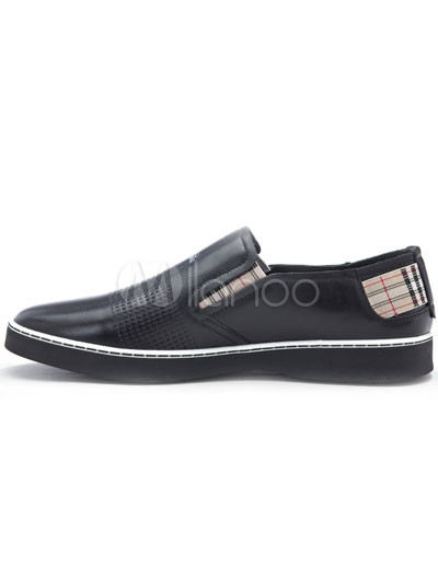 Top Grade Black Cow Leather Mens Casual Shoes