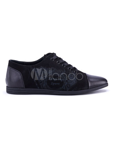 Wide Width Shoes   on Trendy Black Cow Leather Casual Shoes For Men   Milanoo Com