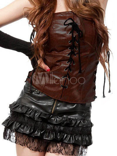 District 10 stylist... God help us West-Cowboy-Hot-Lady-Brown-Black-Leather-Polyester-Pole-Dancing-Skirt-Outfit-72349-1