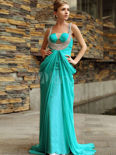 Attractive taille empire vert perles satin de soie robe de for Meilleurs concepteurs de robe de mariage de plage