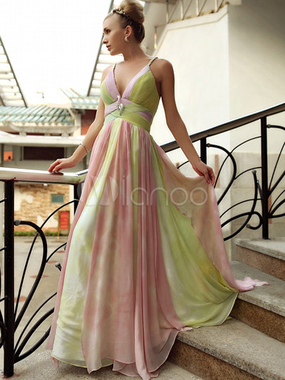 Pink and green evening dress
