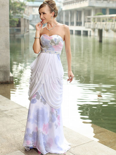 Fabulous Silk Chiffon Satin Beaded Sleeveless Floral Print Womens Wedding Dress