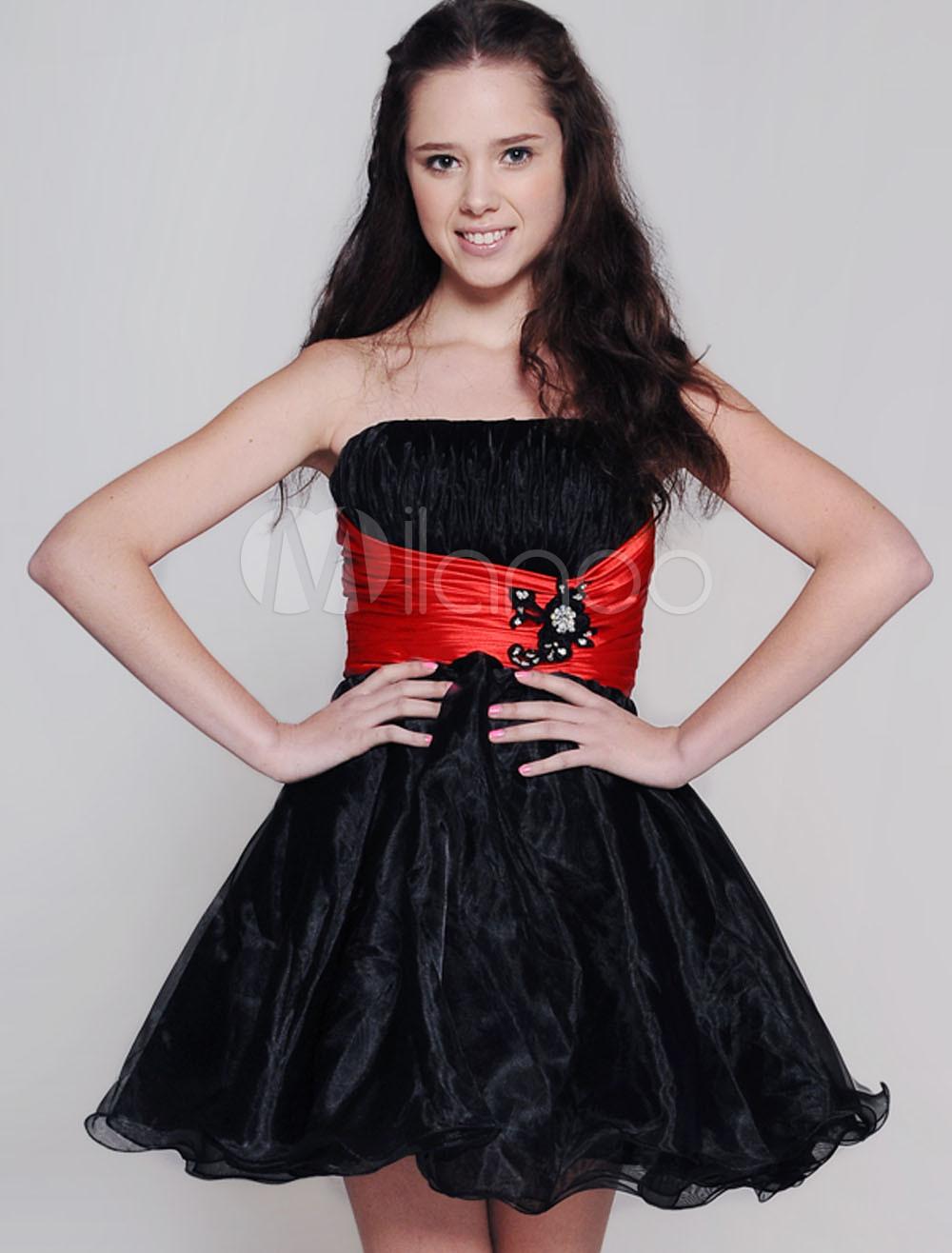 Black Strapless Tulle Skirt Satin Net Prom Homecoming Dress