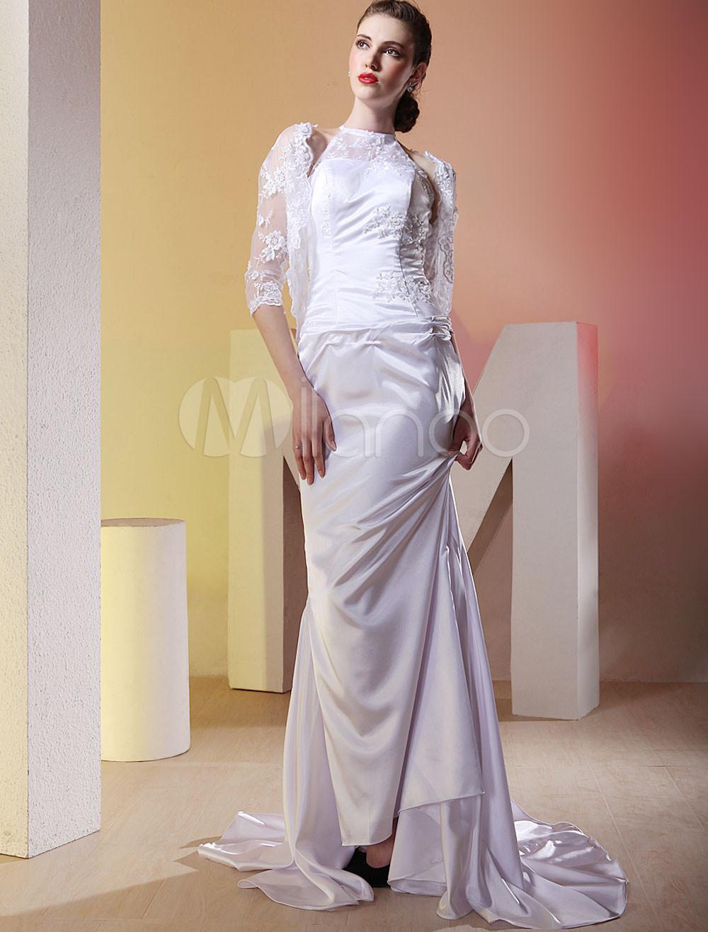 Slim White Sheath Satin Lace Sweep Wedding Dress