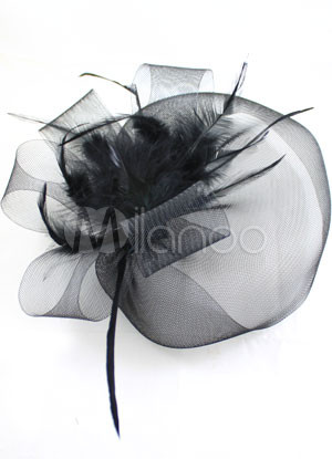 Elegant Black Net Feather Velvet Flower Veil