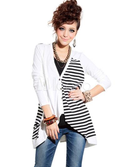 Fashionable Black White 100% Cotton Striped Ladies Cardigan