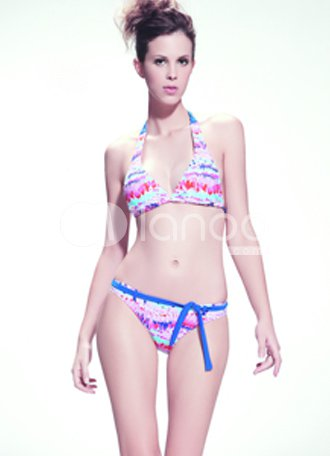 Sweet Colorful 82% Nylon 18% Spandex Halter Two-Piece Bikini Swimsuit For Ladies