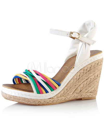 White 3 9/10'' High Heel PU Wedge Platform Fashion Shoes
