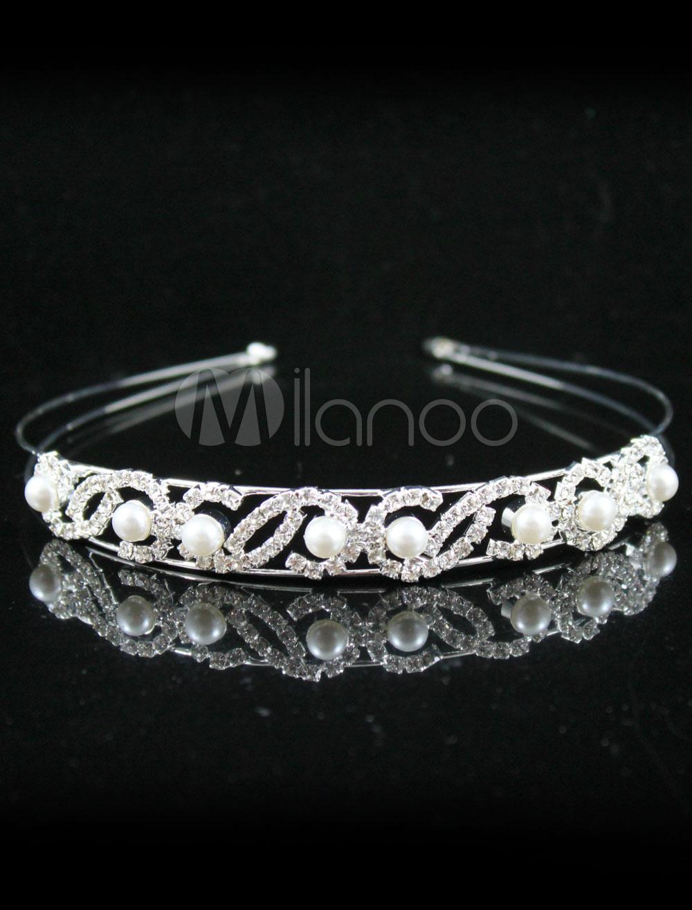 Shinny Silver White 12cm * 2cm Alloy Wedding Bridal Hoop