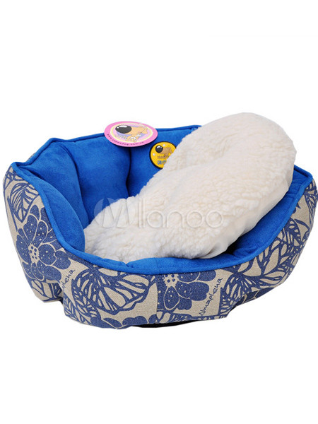 44*44*19cm Beautiful Blue Printed Canvas Suede Non-Slip Fabric Pet Bed