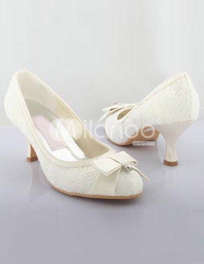 Heel Wedding Shoe on Ivory 2 2 5   High Heel Satin Lace Wedding Shoes   Milanoo Com