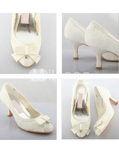 Ivory  Heel Wedding Shoes on Elegant Ivory 2 2 5 39 39 High Heel Satin Lace Wedding Shoes
