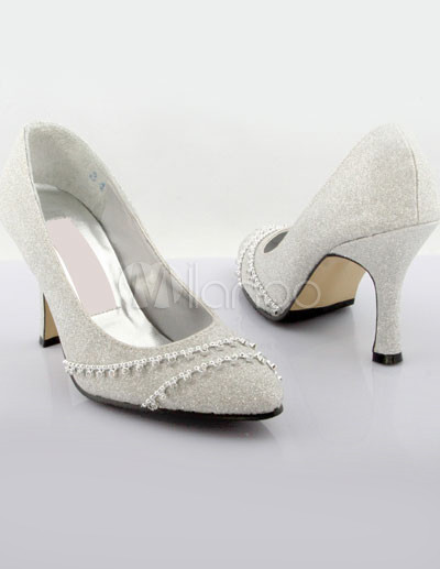 Sparkle Wedding Shoes on Elegante Escarcha De Plata De 3 1   5    Zapatos De Tac  N Alto De La