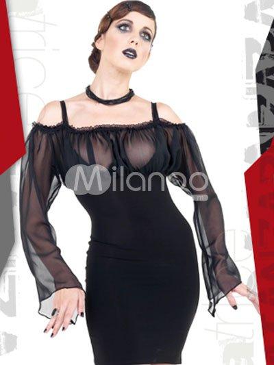 Meinung schöne schwarze pu vinyl womens dessous set von milanoo