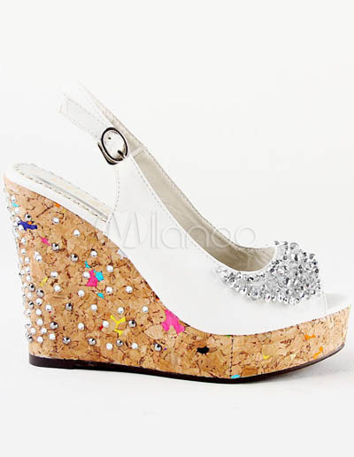 4 3 4 high heel1 3 5 platform paillettes blanches - Chaussures Compenses Blanches Mariage