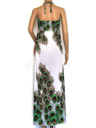 Womens Dresses on Halter Peacock Pattern 100  Viscose Womens Maxi Dress   Milanoo Com