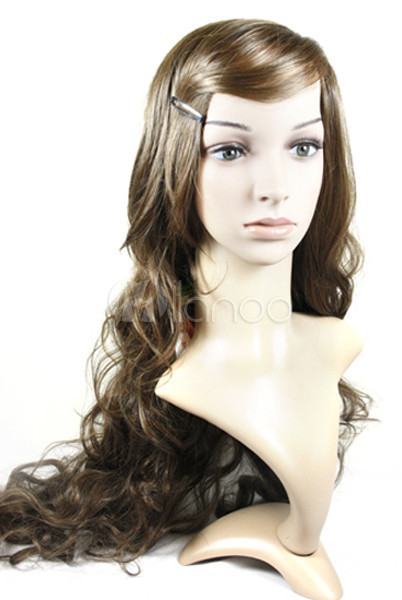 Popular Brown 64cm Kanekalon Fiber Capless Womens Curly Wig