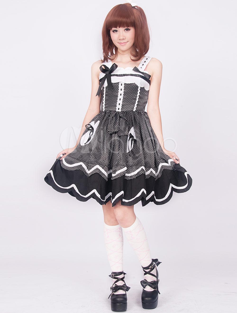 Cotton Black White Polka Dot Sleeveless Sweet Lolita Dress