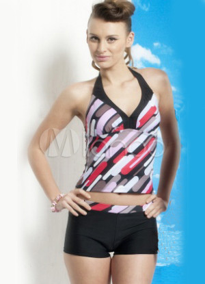 Popular Red Strips Polyester Two-Piece Swimsuit For Women