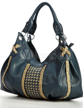 Knitting Pattern Hobo Bag : Blue Knitting Pattern 50*12*36cm PU Womens Hobo Bag - Milanoo.com