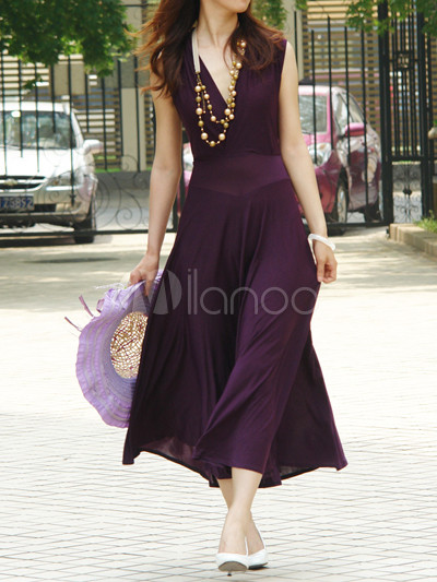 Purple Chiffon Beautiful Womens Maxi Dress