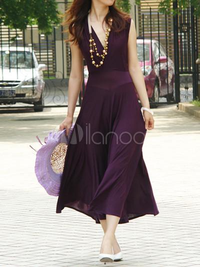 Purple Chiffon Beautiful Womens Maxi Dress