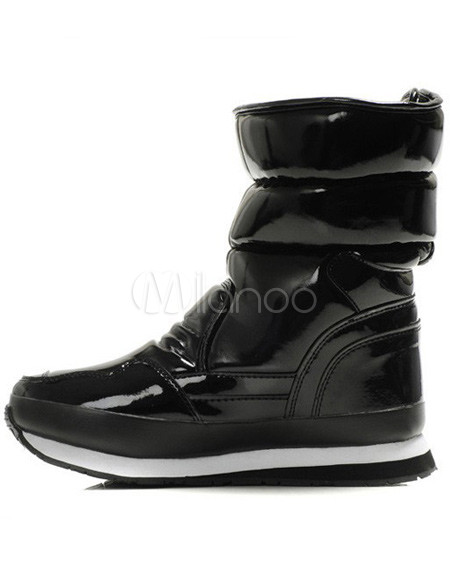 black flat patent leather wool lining womens snow boots