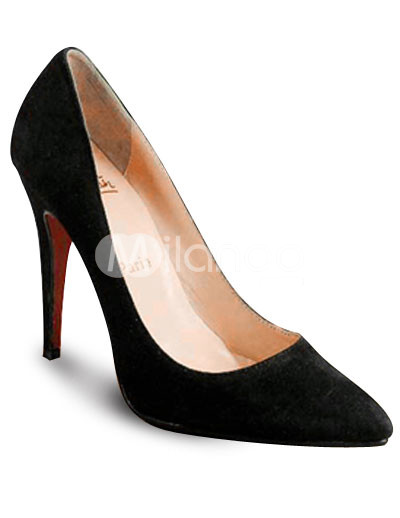 "4 7/10"" High Heel Black Kid Suede Sexy Pointed Pumps"