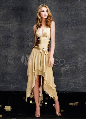 Gold Deep V-Neck Satin Chiffon Long in Back Short in Front Prom Dress/Homecoming Dress
