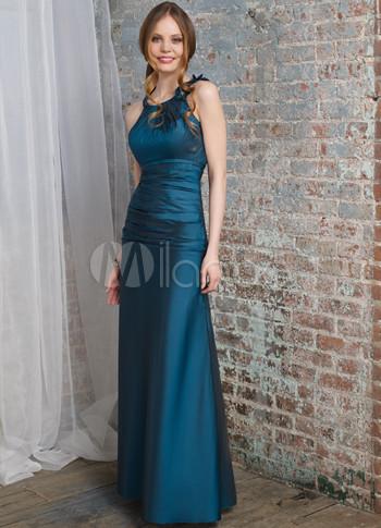 Luxurious Hunter Green Taffeta Halter Floor Length Bridesmaid Dress (Wedding Evening Dresses) photo
