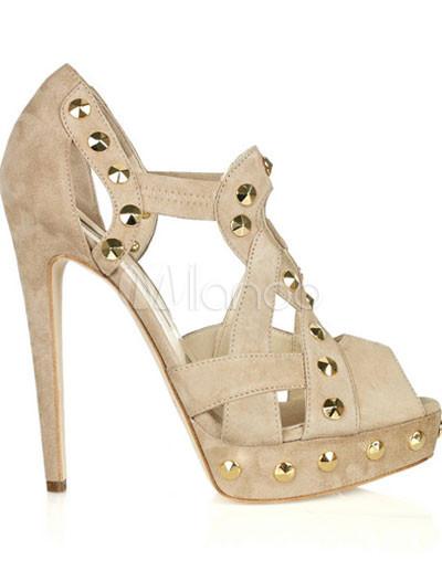 "Apricot Suede 4 7/10"" High Heel Platform Fashion Sandals"