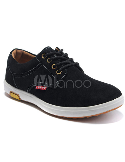 Classy Black Cowhide Lace-Up Mens Casual Shoes