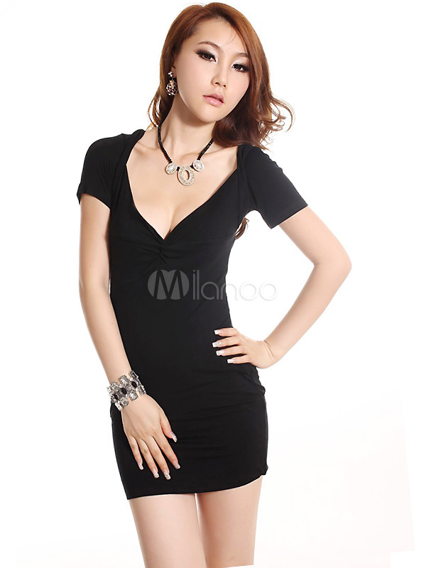 Slim Black Cotton Deep V-neck Short Sleeve Party Dress