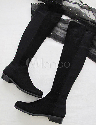 Black Sheepskin Suede Rubber Sole Women's Flat Over The Knee Boots ...
